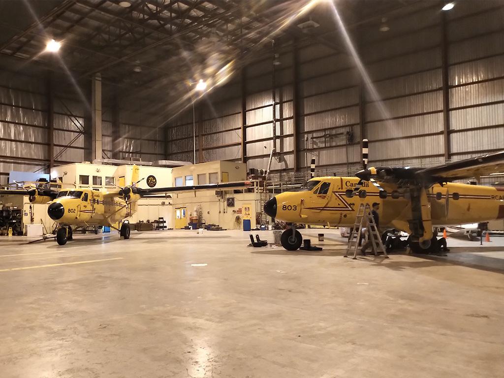 Two Twin Otters in Hangar