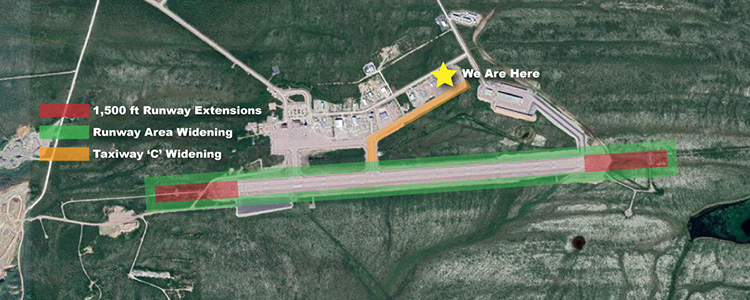 Aerial view of the Inuvik Airport showing runway extensions, embankment expansions and the position of the ILS hangar.