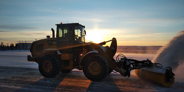 The loader at ILS is used for aircraft handling, runway maintenance and variety of other tasks.