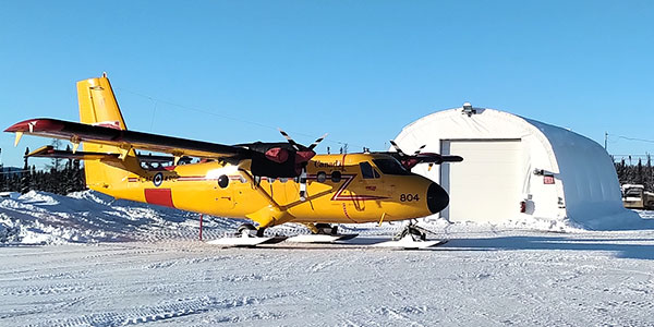 The quonset is a heated shelter that can be used for maintenance and hangarage of small helicopters.